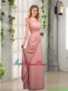 2015 Empire Appliques Ruching Scoop Bridesmaid Dresses