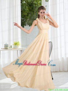 2015 Modest V Neck Empire Ruching Bridesmaid Dress