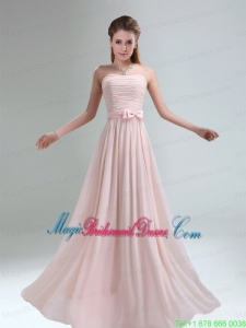 2015 Most Popular Light Pink Empire Bridesmaid Dress with Bowknot belt