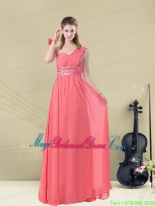 Decent Floor Length Belt One Shoulder Bridesmaid Dress Fitted