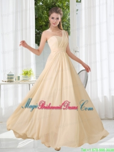Empire One Shoulder Lace Up Bridesmaid Dress with Ruching