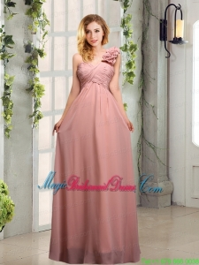 Empire Ruching One Shoulder Bridesmaid Dresses with Hand Made Flowers