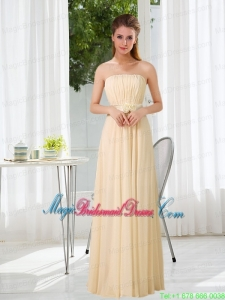 Empire Strapless Ruching and Belt Bridesmaid Dress with Floor Length