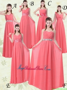 Exquisite Watermelon Bridesmaid Dresses with Ruch and Beading
