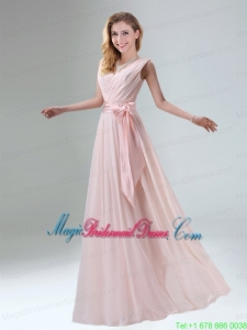 Fashionable Belt Ruching Chiffon Bridesmaid Dress with Bowknot