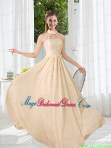 Halter Empire 2015 Classical Bridesmaid Dress with Lace