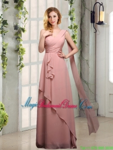 One Shoulder Empire 2015 Bridesmaid Dresses with Ruching