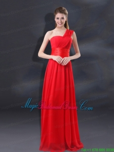 One Shoulder Ruching Empire Bridesmaid Dresses for 2015