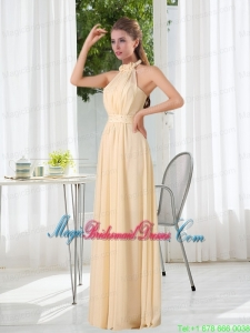 Popular Empire Halter Ruching Bridesmaid Dress with Hand Made Flowers