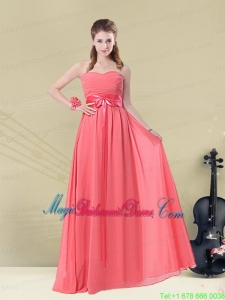 Sweetheart Watermelon Long Bridesmaid Dress with Bow Belt