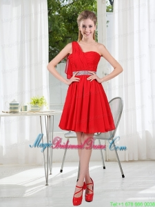 2015 The Most Popular One Shoulder A Line Bridesmaid Dresses with Ruching