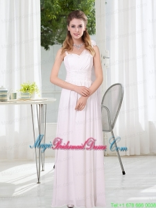2015 White Empire Ruching Bridesmaid Dresses with Asymmetrical