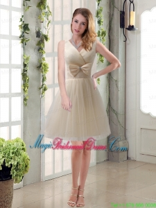 Beautiful Champagne Bowknot Princess Bridesmaid Dresses with V Neck