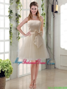 Popular Champagne Strapless Princess Bowknot Bridesmaid Dresses for 2015