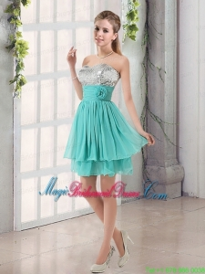 Sweetheart A Line Bridesmaid Dress with Sequins and Handle Made Flowers