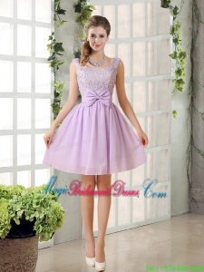 2015 Most Beautiful Chiffon A Line Bridesmaid Dress with Bowknot