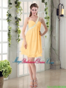 Appliques Mini Length One Shoulder Ruches Bridesmaid Dress