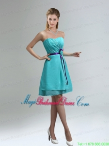 Classical Blue And Purple Sweetheart Bridesmaid Dresses with Ruches