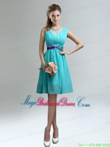 Elegant V-neck Ruched Bridesmaid Dress with Belt for Sale