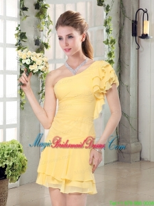 Flirting One Shoulder Cap Sleeve Bridesmaid Dresses Mini Length