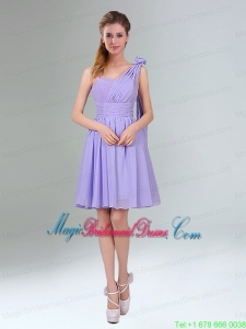 Gorgeous Mini Length Lavender Bridesmaid Dress with Ruching and Handmade Flower