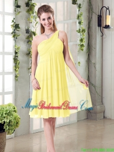 Lovely Inexpensive One Shoulder Bridesmaid Dress with Scarf