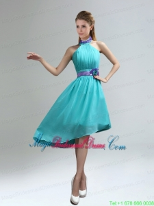 New Fashion High Neck Asymmetrical Multi-color Bridesmaid Dress