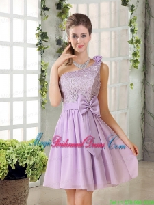 One Shoulder Lilac Bridesmaid Dress with Bowknot for 2015