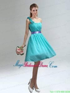 Unique One Shoulder Ruches Teal Bridesmaid Dresses with Belt