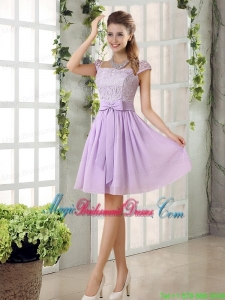 2015 Chiffon Bridesmaid Dress with Ruching Bowknot