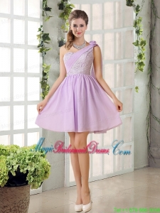 The Most Popular Lilace One Shoulder A line Bridesmaid Dress with Rushing