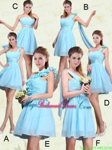 2015 Ruching Chiffon Aqua Blue Bridesmaid Dresses with Mini Length