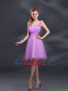 A Line Straps Appliques Bridesmaid Dresses in Lilac