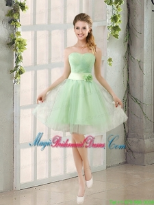 A Line Sweetheart Lace Up Bridesmaid Dress in Apple Green