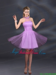 Beautiful Lilac A Line Appliques Bridesmaid Dresses with Halter
