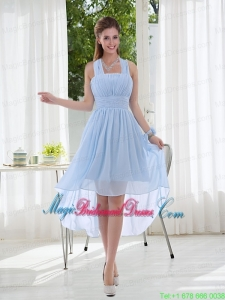 Halter Ruching 2015 Natural Chiffon Bridesmaid Dress
