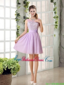 Perfect Bridesmaid Dress Ruching with Hand Made Flower in Lilac