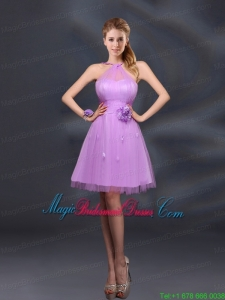 Pretty Halter A Line Bridesmaid Dresses with Hand Made Flowers