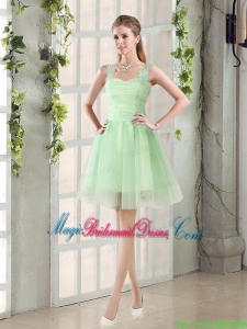 Ruching Organza A Line Straps Bridesmaid Dress with Lace Up