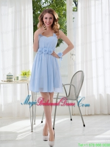 Ruching and Hand Made Flowers Straps 2015 Chiffon Bridesmaid Dress