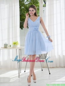 V Neck Chiffon Bridesmaid Dress with Ruching and Hand Made Flowers