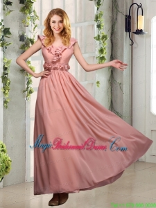 V Neck Empire Appliques Bridesmaid Dresses with Floor Length