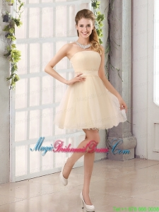 2015 A Line Belt Mini Length Bridesmaid Dress with Strapless