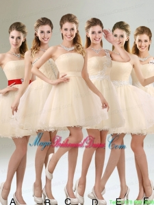2015 Perfect A Line Organza Bridesmaid Dress with Mini Length