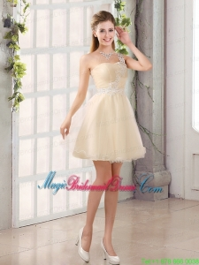 Appliques A Line Mini Length Bridesmaid Dress with One Shoulder
