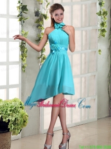 Halter Ruching and Hand Made Flowers Bridesmaid Dress