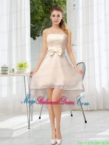 Luxurious Strapless A Line Bridesmaid Dress with Belt and Lace