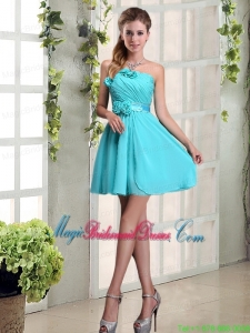 Perfect Ruching and Hand Made Flowers Bridesmaid Dress with Strapless