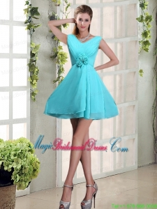 Ruching and Hand Made Flowers V Neck A Line Bridesmaid Dress