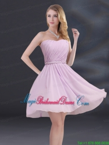 A Line Sweetheart Bridesmaid Dress with Ruhing and Belt